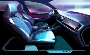 SKODA gibt ersten Ausblick auf den KODIAQ GT: Stark, sportlich und stilvoll präsentiert sich auch der Innenraum des neuen KODIAQ GT. Er vereint SUV-typisches Raumangebot mit der emotionalen Linienführung eines Coupés © Skoda