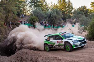 Zwei Rallyes vor dem Saison-Finale stehen die SKODA Werksfahrer Jan Kopecký und Pavel Dresler in der WRC 2-Kategorie der Rallye-Weltmeisterschaft als Champions fest und möchten eine erfolgreiche Saison mit einem weiteren Sieg krönen. © Skoda Motorsport