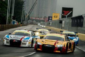 FIA GT World Cup Audi R8 LMS #1 (Audi Sport Team WRT), Robin Frijns; Audi R8 LMS #12 (HCB-Rutronik Racing), Fabian Plentz © Thomas Lam
