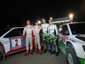 Sie sorgen für einen umjubelten Skoda Doppelsieg bei der Lausitz-Rallye: Matthias Kahle, Christian Doerr, Frank Christian und Fabian Kreim (alle D/von links nach rechts). © Skoda Mottorsport