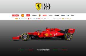 Formel 1 Ferrari SF90 Seitenansicht für die Saison 2019 © Scuderia Ferrari